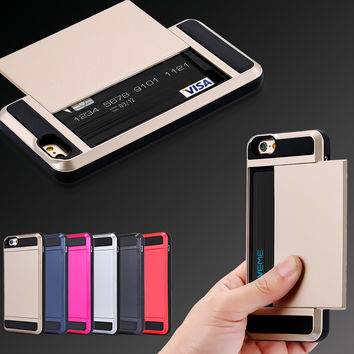 I6/7 Plus Armor Slide Spacious Credit Card Slot Case For iPhone 7 5 5C 5S SE 6 6S Plus 7 Plus Wallet Shockproof Hard Cover Shell