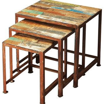 Butler Decatur Recycled Wood & Iron Nesting Tables