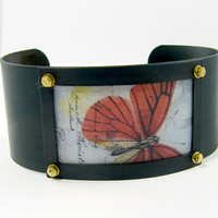 Butterfly Cuff Bracelet - Red Blue Brown Insect Resin Picture Jewelry