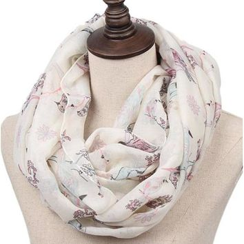 [16017] Birds Sitting On Branches Printed Voile Scarf