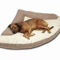 "Corner Dog Bed with Bolster XXL 44"" x 64"" x 44"" Khaki"