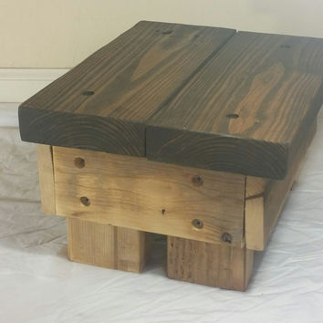 Rustic Step Stool  2-tone, handmade, wooden (Natural and Dark Walnut)