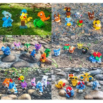 SC Pocket Monster Mini Set Pikachu Building Diamond DIY Nano Blocks Toy Charmander Eevee  Raichu Psyduck Mew Mewtwo Dratini