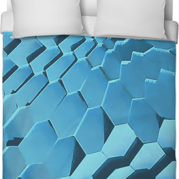Abstract geometric blocks pattern, light blue bedroom duvet cover