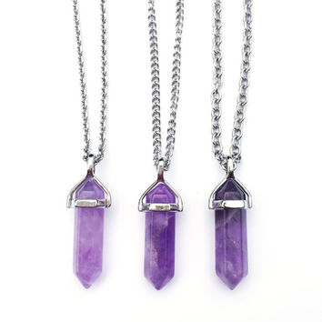 Amethyst Crystal Point Necklace | Amethyst Necklace, Crystal Pendant Necklace, Natural Stone Necklace, Raw Gemstone Necklace Silver Amethyst