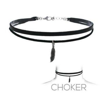 Black Suede Layered Choker with Silver Feather