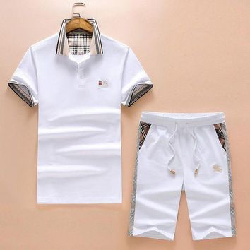 DCCKNY1Q Boys & Men Burberry Shirt Top Tee Shorts Set Two-Piece