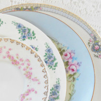 Vintage Cottage Style Pink and Blue Mismatched Plates, Set of 4, French Shabby Chic, Wedding, Cottage Chic, Antique, Replacement China