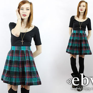 Vintage 90s Grunge Skirt Plaid Mini Skirt Tartan Plaid Skirt High Waisted Skirt 90s Tartan Skirt Schoolgirl Skirt Skater Skirt