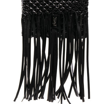 Saint Laurent Fringe Trim Woven Folk Bag in Black | FWRD