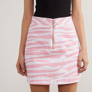 Lazy Oaf Pink Zebra Print Zip Skirt - Everything - Categories - Womens