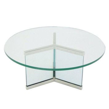 Pre-owned Pace Chrome & Glass Coffee Table Base