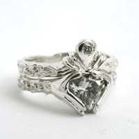 Claddagh Wedding Set  - Personalized - Choose your Stone - Sterling silver - Diamond - Engagement Ring and Wedding Band - Rickson Jewellery