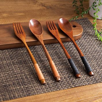 2 Pieces Wooden Fork Scoop Cutlery Set Tableware Wood Long Handle Dinnerware Set Fruit Dessert Serving Set Wood Kitchen Utensils