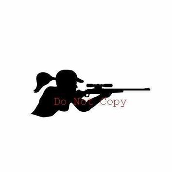 Girl Woman Hunter Vinyl Decal Sticker Car Truck Window Wall Bumper