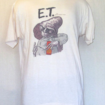 Vintage Super Rare 1982 ET MOVIE GRAPHIC Fantasy Alien Sci Fi Super Soft 50/50 T-Shirt