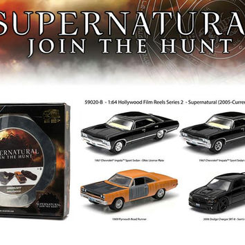 "Hollywood Film Reels Series 2 ""Supernatural"" 4 Cars Pack (2005 Current TV Series) 1-64 Diecast Car Models by Greenlight"