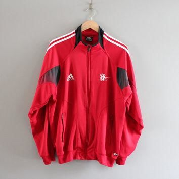 Red Adidas Jacket logo 3 Stripes Adidas Fencing Jacket Training Sports Jacket Track