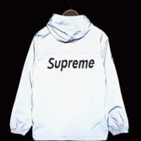 Supreme Unisex Lighting Windbreaker Spureme Thin and thick Silver reflective clothes