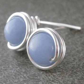 Little Blue Earrings Angelite Studs Sterling Silver Wire Wrapped Jewelry Handmade Wrapped Gemstone Studs Sky Blue Jewelry Sterling Earrings