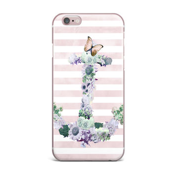"Nika Martinez ""Floral Anchor"" Pink Stripes iPhone Case"