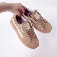 Puma Basket Suede thick platform cake shoes