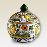 Lidded Bonbonniere with blue , yellow, green, brown Flower motives . Haban Ceramic. 100% Handmade. Hand painted floral.