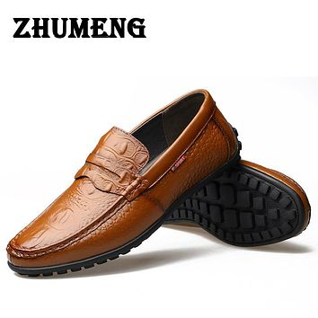 Alligator Grain Casual Men Shoes Genuine Leather Luxury Slip-on Men Loafers Flats for Driving Party Lazy Shoes Dress