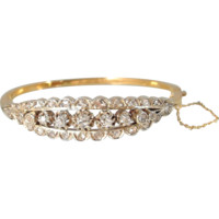 Luxurious 18K solid gold, silver and 2.5ctw natural diamonds hinged bracelet, fully hallmarked, Ca. 1900s