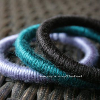 Three Yarn Wrapped Bangle Bracelets - Black, Dark Blue, and Purple