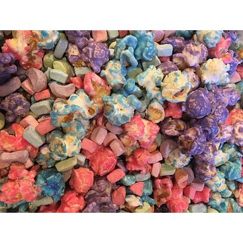 Gourmet Rainbow Birthday Party Popcorn with Marshmallows