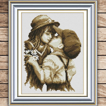 Chinese Needlework DIY Cross stitch Sets For Embroidery kits first romantic kiss pattern Counted bead Cross-Stitching #KF