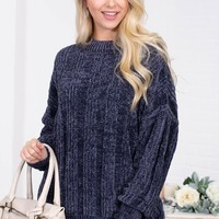 Lavinia Ribbed Chenille Sweater | Blue