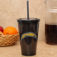 San Diego Chargers Sip 'N Go 16oz. Color Tumbler with Lid and Straw - Black