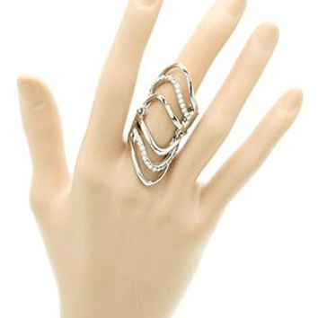 Layered Metal Armour Knuckle Pave Crystal Stone Full Finger One Size Stretch Ring