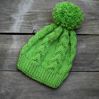 Knit beanie hat in green lime with pom pom, winter accessories