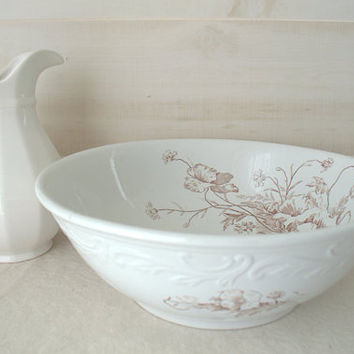 White Ironstone Bowl, Antique Ceramic Wash Basin, Glossy White Stoneware Bowl