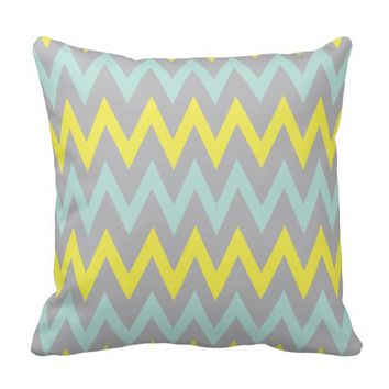 Turquoise, Yellow and Grey Pillow