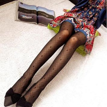 Fashion Cute Womens Girls Sexy Jacquard Tights Pantyhose Stockings Black x1