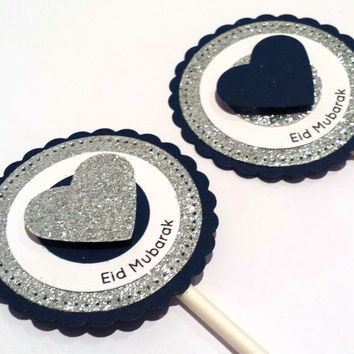 Blue Grey Silver Heart Cupcake Toppers, Eid Mubarak Party Supplies, Rustic Glam, Shabby Chic Wedding Decor, Eid decorations, Set of 6