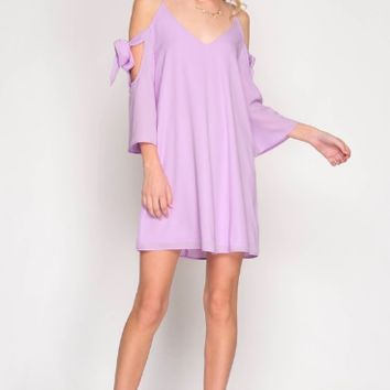 Women's Cold Shoulder Swing Dress with Tie Sleeves