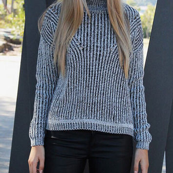 Fashion high-necked hollow out sweater