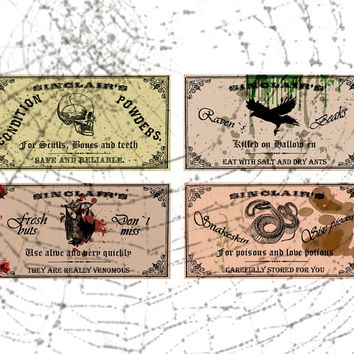 Set of 4 big gothic labels in fantasy style for potions and halloween wine bottles jpeg instant digital download