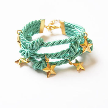 Mint rope bracelet , knot rope bracelet , cord bracelet , arm party ,friendship bracelet  ,fancy bracelet