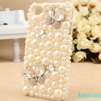 Pearl  floral bling iphone5 case rose iphone case, i phone 4 4s 5 case, iphone4 iphone4s iphone5 case,cute crystal case.personality unique