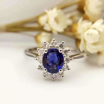 18K Gold 0.824ct Natural Sapphire Women Ring with 0.226ct Diamond Setting 2016 New Fine Jewelry Wedding Band Engagement
