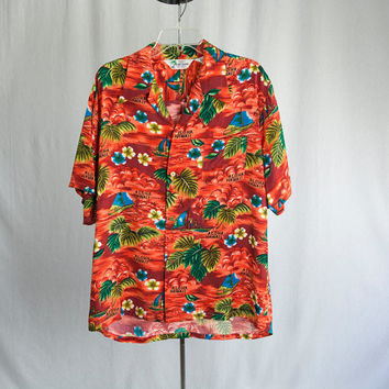 Vintage 1960's Hawaiian Shirt Rayon Orange Sunset Island Fashions
