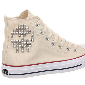 Studded Converse, Converse Cream High Top with Skull Pattern Studs by CUSTOMDUO