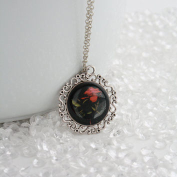 One Red Rose Pendant Necklace Jewelry - Photography Fine Art Original - Black and Red - Botanical