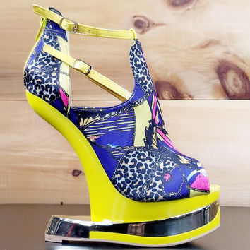 Aymor Yellow/Purple Multi Color Heel Less Wedge Shoe